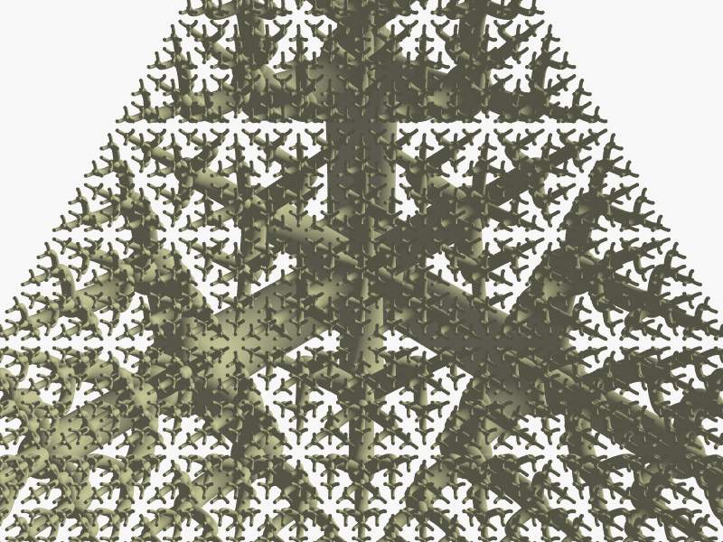 Triangular fork fractal seen from below.
